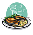 Grilled salmon with sauce vector image
