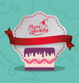 happy birthday card cake sweet banner vector image