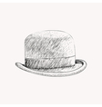 Sketch black bowler hat or derby cut out Hand vector image