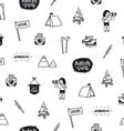 Outdoor adventures doodle pattern vector image vector image