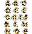 latin alphabet funny bee abc vector image