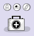 first aid briefcase with treatment tools inside vector image