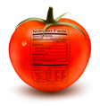 Tomato with a nutrition facts label Concept of vector image