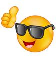 Smiling emoticon wearing sunglasses giving thumb u vector image