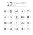 Simple thin computer icons collection on white vector image