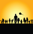 children with family silhouette vector image