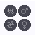 Male female and game joystick vector image