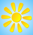 Abstract yellow paper sun on a blue background vector image