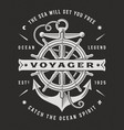 nautical voyager typography on black background vector image