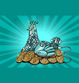 the hen incubates electronic money bitcoin vector image