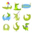 set with cute cartoon crocodiles vector image