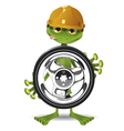 Frog and the wheel vector image vector image