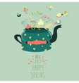 Cute teapot with spring herbs and birds vector image