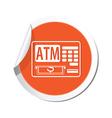 ATM cashpoint icon orange label2 vector image