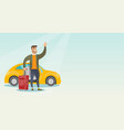 young caucasian man waving in front of car vector image