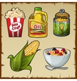 Corn and corn products five varieties of food vector image