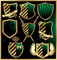 gold and green shields set vector image vector image
