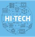 blue line flat circle hitech vector image