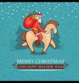 Christmas cute baby card with santa claus vector image