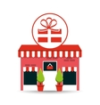 cute store shopping gift box vector image