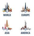 set of travel emblems world europe america vector image