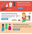 Three banners sewing and tailoring vector image