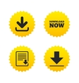 Download now signs Upload file document icon vector image