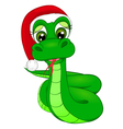 snake cartoon in Winter Hat the symbol of 2013 vector image