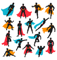 Set Of Black Superhero Silhouettes vector image