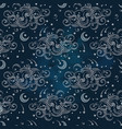 seamless pattern with moons and clouds vector image