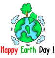 happy earth day world with tree vector image