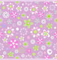 seamless pattern with cute flowers vector image