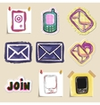 Communication icons set Hand drawn and isolated vector image vector image
