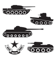 silhouettes of old Soviet tanks vector image