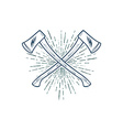 Crossed Axes with sunburst t-shirt print vector image
