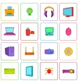 Computer icons set pop-art style vector image
