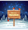 Bullfinches on wooden sign Christmas background vector image