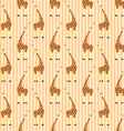 Cartoon giraffes on stripes pattern vector image