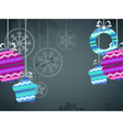 Christmas background with color christmas baubles vector image