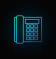 landline phone blue icon - old telephone vector image