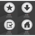 Set of 4 Flat Buttons Icons with Shadows on vector image