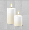 set of realistic white candles with fire vector image