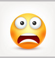 smiley scared emoticon yellow face with emotions vector image
