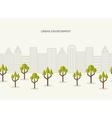 Urban park city landscape seamless border vector image