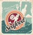 Vintage poster for seafood restaurant vector image vector image