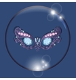 mask in bubble with reflections blue background vector image