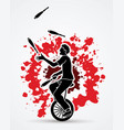a man juggling pins while cycling on bicycle vector image
