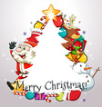 Christmas theme with Santa and ornaments vector image vector image