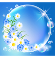 bubbles with flowers vector image