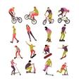 set of people on bicycle skateboard